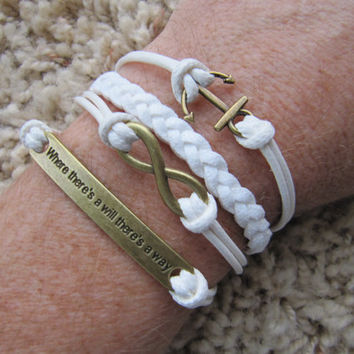 USA Seller- White Where there's a will there's a way -  Anchor and Infinity  Friendship Charm Bracelet