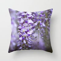 Wisteria on a rainy spring day Throw Pillow by Wood-n-Images | Society6