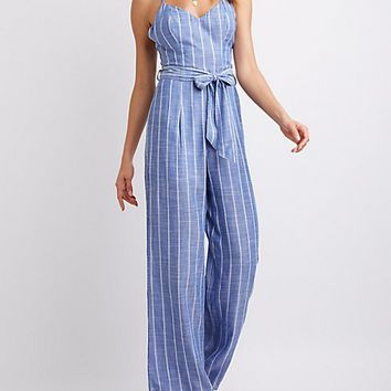 Strappy Striped Jumpsuit | Charlotte Russe