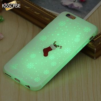 KISSCASE Merry Christmas Luminous Case For iPhone 7 7 Plus 6 6s Plus Soft Silicone Slim Glow In Dark Cover For iPhone 6 6sPlus