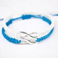 Infinity Friendship or Couples Bracelets Blue and White