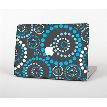 The Retro Blue Circle-Dotted Pattern Skin Set for the Apple MacBook Pro 13""
