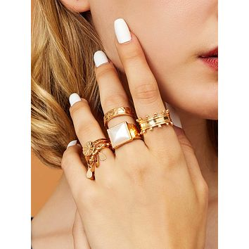 5pcs Flower & Geometric Decor Rings