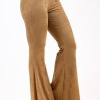 Suede Bell Bottoms - Tan