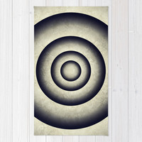 Abstract grunge gray blue 3D metal rings tunnel Rug by Natalia Bykova