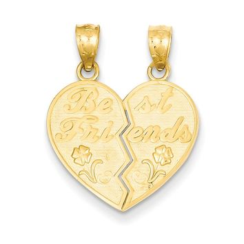 14k Yellow Gold Best Friends Heart and Flowers Set of 2 Pendants, 18mm