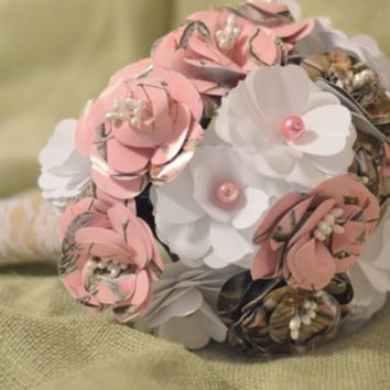 Pink Realtree, Realtree and white Bridal Bouquet CUSTOM ORDER Burlap and Lace Wrap with Pearl accents,