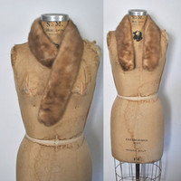 Mink Fur Collar Scarf / light brown / clips