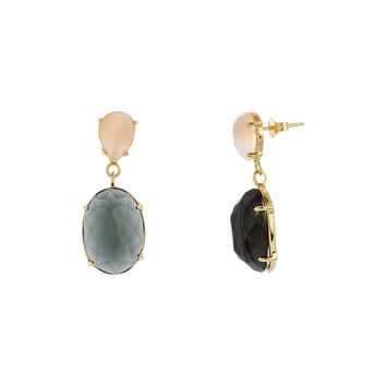 Gold Over Sterling Silver Peach and  Black Glass Stone Oval Drop Earring