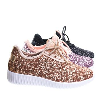 Remy18KA Link, Baby Toddlers Girl Lace up Rock Glitter Fashion Sneaker