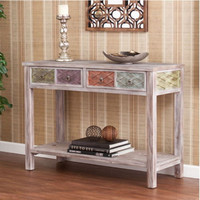 Contemporary Two-Drawer Console Table With Open Bottom Shelf Home Furniture New