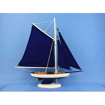 Wooden Bermuda Sloop Dark Blue Model Sailboat Decoration 17""