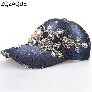 Hot Explosion Manual Diamond Drill Flower Decorated Girl's Hat 7 Color Luxury Gold Flower Denim Baseball Cap Drop Shipping SY323