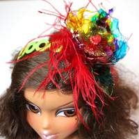 Rainbow Fascinator Headband, Red Ostrich Feather, Recycled Plastic Bottle,  Colorful, Sweet 16, Quinceanera flower