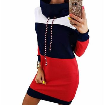 [16230] Long Sleeve High Neck Sweatshirt Dress