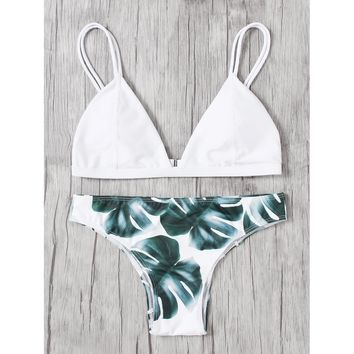 Jungle Print Double Straps Bikini Set