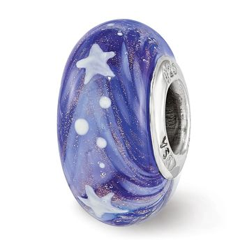 Fenton Sterling Silver Hand Painted Blue Shine Like A Star Glass Charm