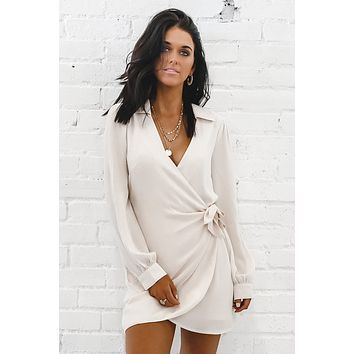 Boss Up Ivory Wrap Dress