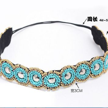 Fashion Ethnic Vintage Bohemian Turquoise Beads Stone Braided Knitted Handmade Flower Elastic Headband Tribal Hair Accessories