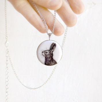 Animal Pendant Necklace Rabbit Bunny Portrait original hand painting, for rabbit lovers, black and white minimalist jewelry, animal jewelry