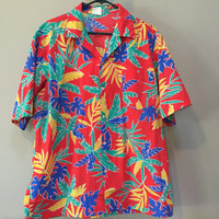 Mens Vintage Hawaiian Shirt, Primary Colors Tropical Print Red Short Sleeve Button Down Shirt Vintage 60s Mad Men California Don Draper L XL