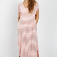 Pink-Striped-Short-Sleeve-Maxi-Dress