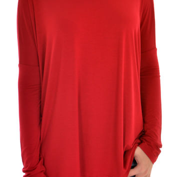 LONG SLEEVE PIKO IN WINE
