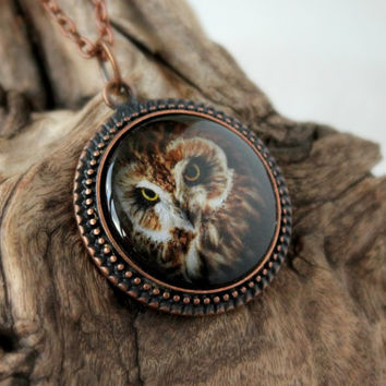 Owl Amulet, Antique Copper Pendant,Glass Cabochon Pendant With Chain