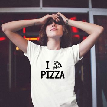 Funny Pizza print Shirt T Shirt Tee Women Ladies Gift Present Foodie Food Shirt There's no We in Pizza Lover Geeky Nerd Geekery