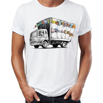 Men's T Shirt Banksy Truck Featuring  Pikachu Charzard Squirtle Eevee Artsy Awesome Artwork Printed TeeKawaii Pokemon go  AT_89_9
