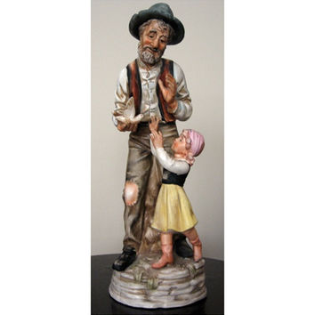 "Norleans Peasant Man Child Rare Porcelain Figure vintage 70s Old Harvest Home Decor Large 14"" Brown Beige Green Red Farm Japan"