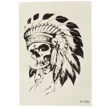Skull Indian Headdress Temporary Tattoo Sticker Waterproof Body Art Arm Removable