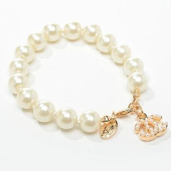 Chanel Woman Fashion Logo Pearls Bracelet For Best Gift