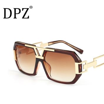 2018 Brand men's designer Large frame sunglasses Vintage steampunk women sun glasses Hollow Large frame UV400