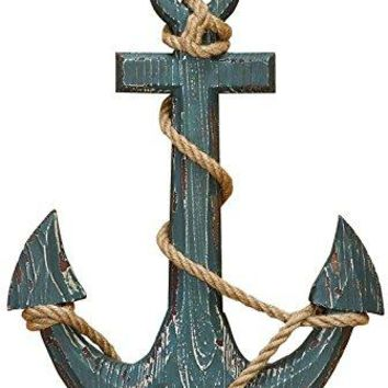 Benzara 91620 Wood Anchor with Rope Nautical Decor