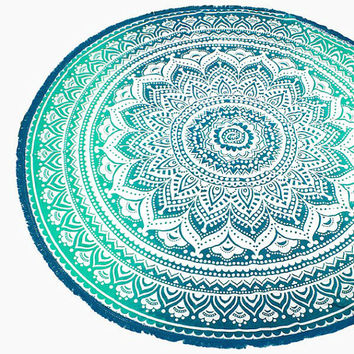 Green Ethnic Lotus Multi-way Round Beach Throw with Tassel Trim Beach blanket / Beach towel / Wrap / Rug