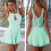 2015 Fashion Lace Stitching Hollow-out Backless Jumpsuits Sexy Lace Playsuit Rompers Womens Jumpsuit