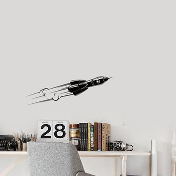 Vinyl Decal Wall Sticker Rocket Space Cosmonaut Flight Universe Decor Unique Gift (g064)