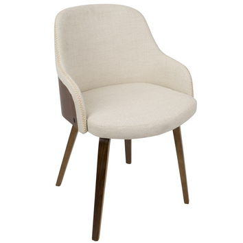 Bacci Mid-Century Modern Dining/ Accent Chair in Walnut and Cream Fabric