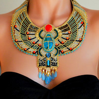 $525 Egyptian Scarab Necklace   Bead Embroidered Necklace by dorosoucy