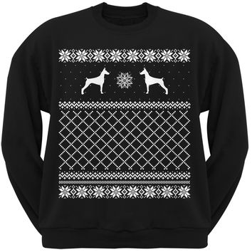 Doberman Pinscher Black Adult Ugly Christmas Sweater Crew Neck Sweatshirt