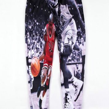 Black Emoji 23 Flyer Michael Jordan Tongue Out Print Sweatpants