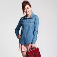 Long Sleeve Button Down Denim Shirt with Collar