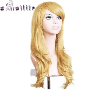 S-noilite 56CM Loose Wave Synthetic Wigs for black women Cosplay wig