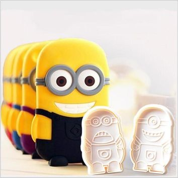 2PC /Lot Newest Minions Plunger Cutter Cake Decorating Molds Cute Plastic Minions Fondant Cake Cutter Sugar Craft Baking Tools