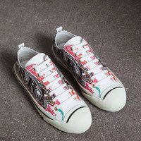 Burberry Doodle Print Coated Cotton High-top Sneakers