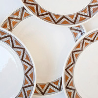 Vendome Royal China Navajo Southwestern Zig Zag Design Dinner Plates, Desert Colors, Oven Proof (set of 4)