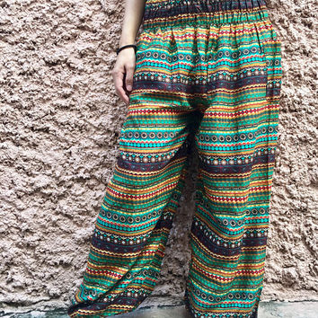Harem Yoga Pants Hippie Boho Festival clothing Exercise Vegan Beach Summer bohemian Gypsy Clothes Fashion Women men Gift For her him Unique