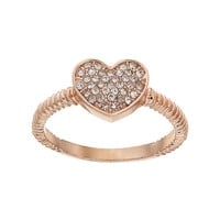 Juicy Couture Textured Pave Heart Ring