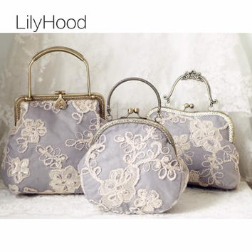 LilyHood 2017 Women Shabby Chic Lace Shoulder Bag Lady Handmade Vintage Retro Chic Victorian Style Wedding Kiss Lock Handbag Bag
